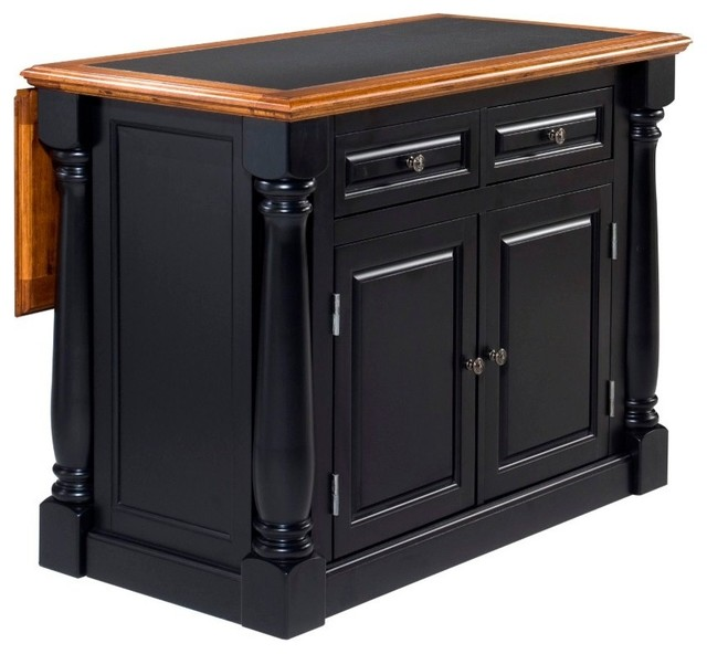 Inverness Black And Distressed Oak Island With Granite Top.