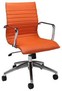 pastel janette office chair - chrome and aluminum - pu orange