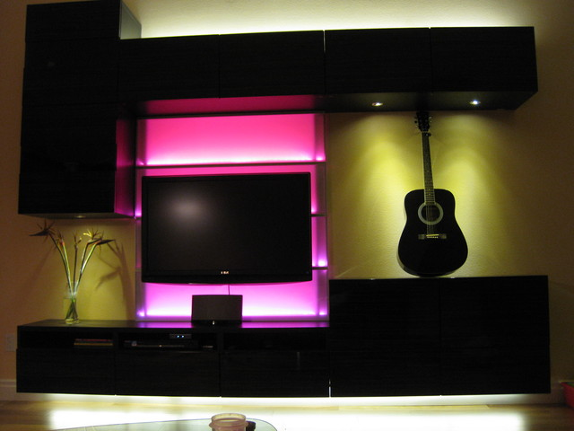 Pink Led Light In The Wall Unit