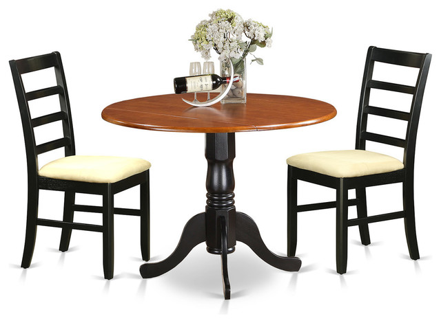 ronald dining table set black and cherry 3 pieces
