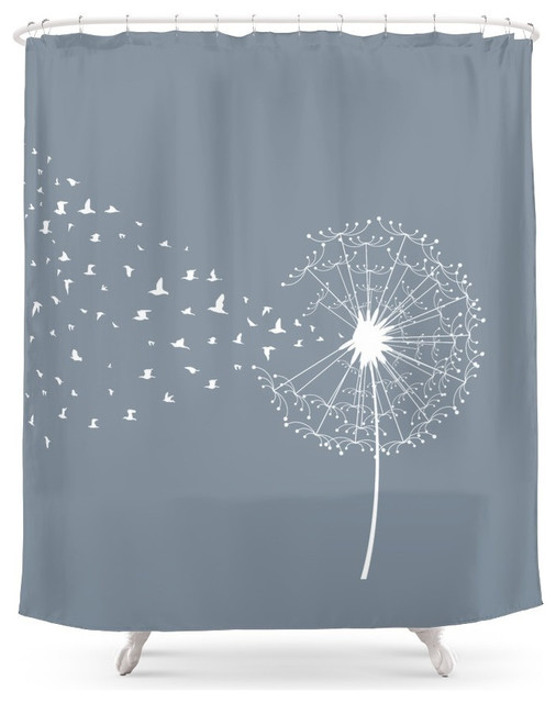 society6 dandelion and birds shower curtain contemporary