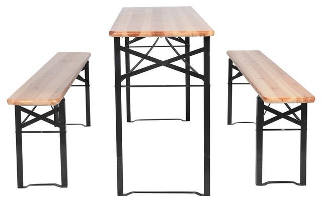 Stupendous Modern 3 Piece Folding Wooden Picnic Table Bench Set Machost Co Dining Chair Design Ideas Machostcouk