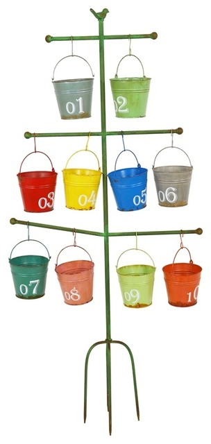 Multicoloured Bucket Planters and Stand, 11-Piece Set