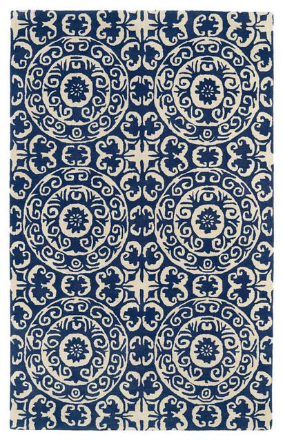 Melia Hand-Tufted Wool Rug, Navy, 3&x27;x5&x27;.