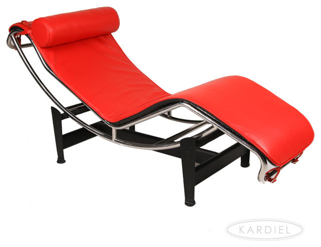 red leather chaise lounge chair