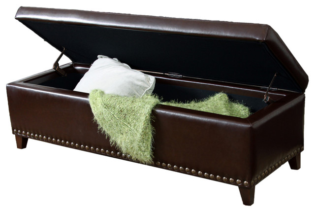Charleston Tufted Leather Storage Ottoman