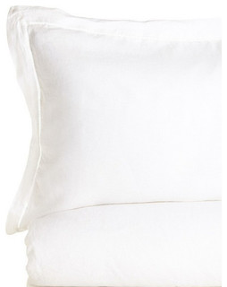 Linen Duvet Cover, White, Full/Queen