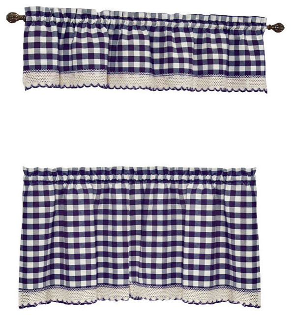 Buffalo Check Navy Blue Kitchen Curtain Curtains By
