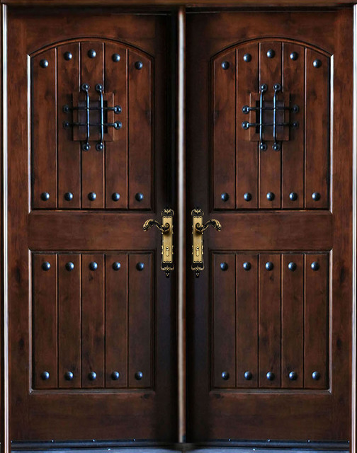 Knotty Alder Exterior Front Entry Double Door 30x80x2 Right Hand