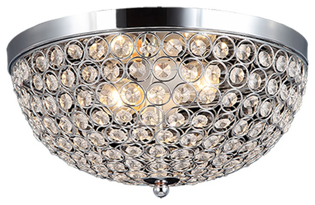 Elegant Designs 2 Light Elipse Crystal Flush Mount Ceiling Light, Chrome.
