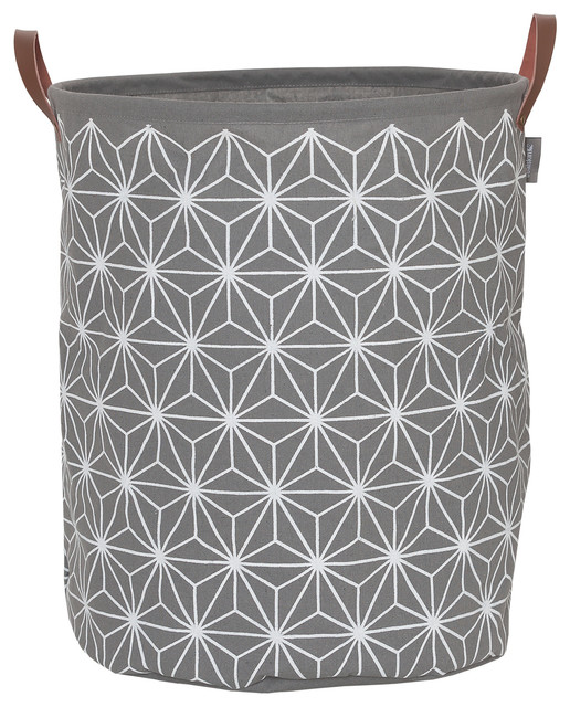 "Round Laundry Bag 16""x20"" Sealskin Triangles Gray Fabric"