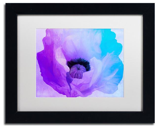 """Color Bakery 'Poppy Gradient IV' Art, Black Frame, White Matte, 14""""x11"""""""