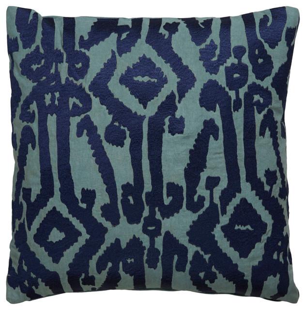 """Luli Sanchez By Jaipur Living Roux Indigo/teal Ikat Poly Throw Pillow 18""""."""