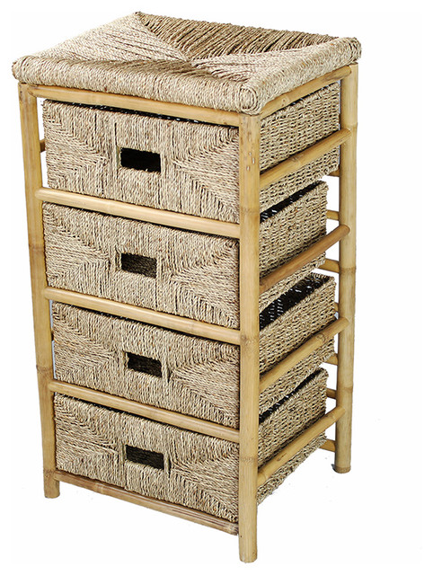 Kaleo Bamboo And Seagrass Open Frame Storage Chest With 4 Storage Baskets.