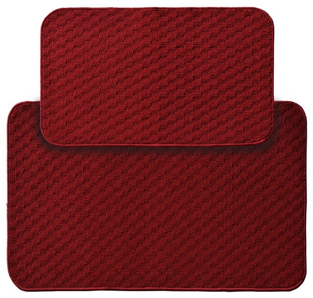 "Town Square Two Piece Kitchen Rug Set, 18""x30"" And 24""x40"" Chili Red."