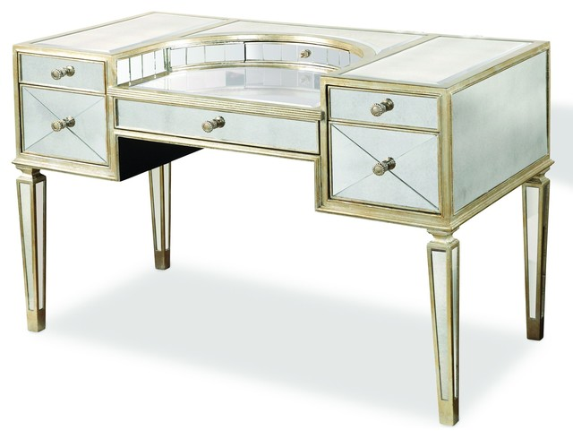 Borghese Mirrored Desk Transitional Desks And Hutches