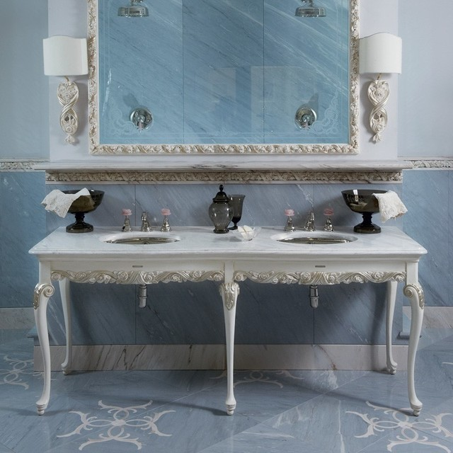 Italian Marble Topped Double Bathroom Basin Traditional Bathroom Vanity Units Sink