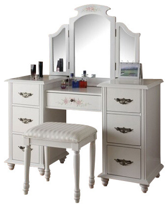 Torian 3 Piece White Finish Wood Make Up Dressing Table