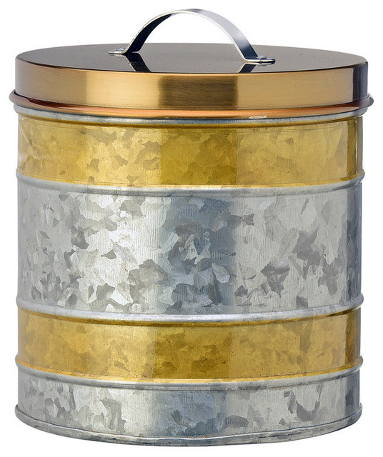 Amelia Gold Galvanized Canister, Medium.