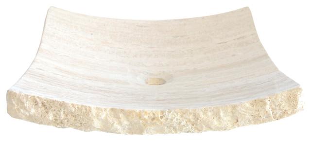 Eden Bath S014wt-P White Travertine Large Zen Sink.