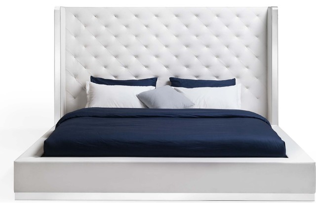 Abrazo Tufted Headboard Bed White Faux Leather King