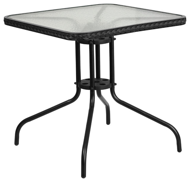 3pc Black Temper Glass Tops Metal Legs Coffee Table W: Tempered Square Glass Indoor/Outdoor Patio Table