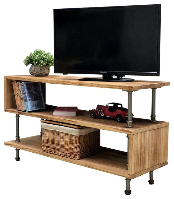 Tucson Modern Tv Stand Brushed Br Gray Steel Natural Wood