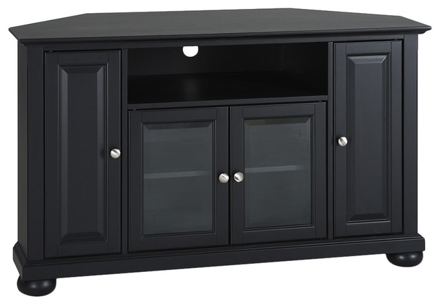 """Crosley Alexandria 48"""" Corner TV Stand, Black Finish - Entertainment Centers And Tv Stands 