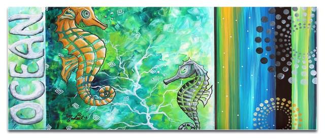 Contemporary Beach Decor 'Ocean', Coastal Bathroom Art on Acrylic