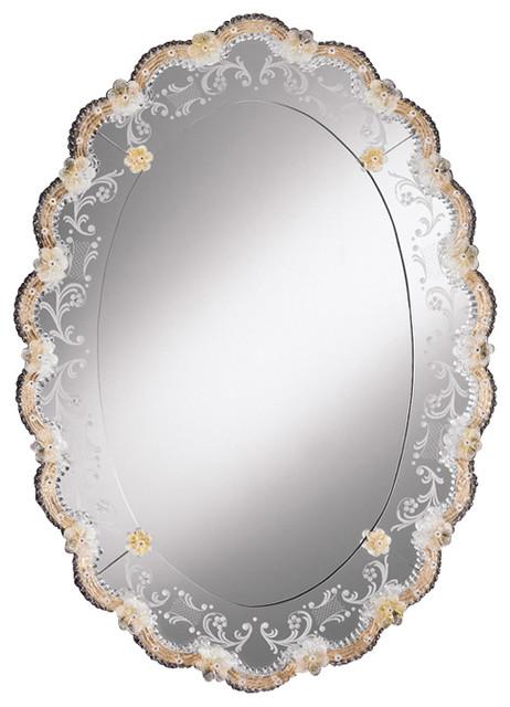 Traditional Bathroom Mirrors oval venetian mirror with gold highlights - traditional - bathroom