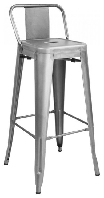 Marvelous Dreuxsteel Low Back Barstool 30 Set Of 4 Clear Gunmetal 17Wx17Dx38 Andrewgaddart Wooden Chair Designs For Living Room Andrewgaddartcom