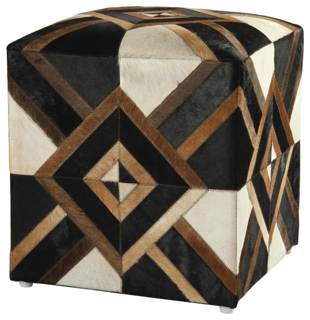 "21"" Black Leather Diamond Hide Pouf Ottoman."