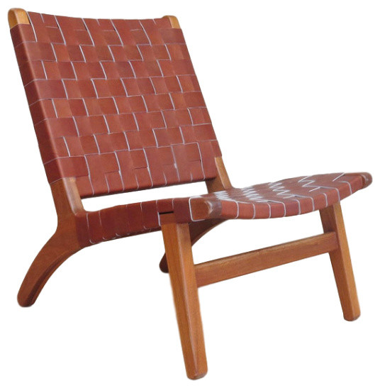 Woven Leather Lounge Chair Midcentury Armchairs And