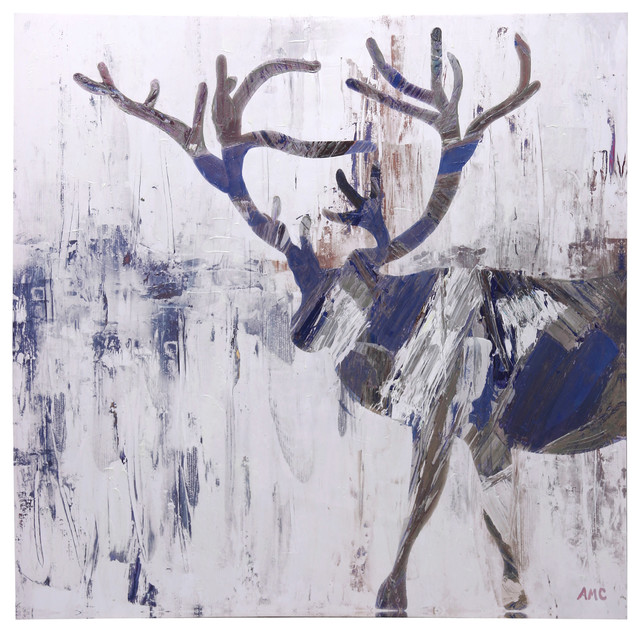 Contemporary Acrylic Moose Print, Hand Painted In High Gloss.