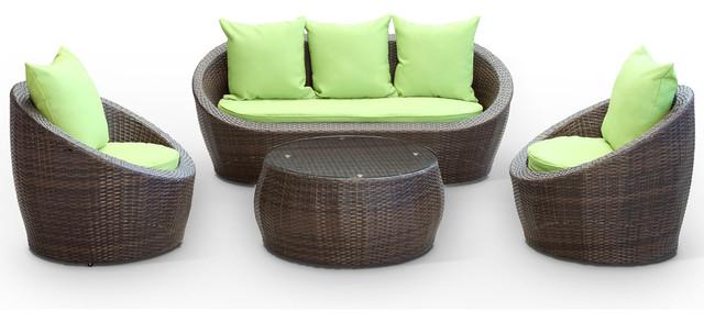 Miraculous Carmel Outdoor Rattan 4 Piece Set Brown Green Theyellowbook Wood Chair Design Ideas Theyellowbookinfo