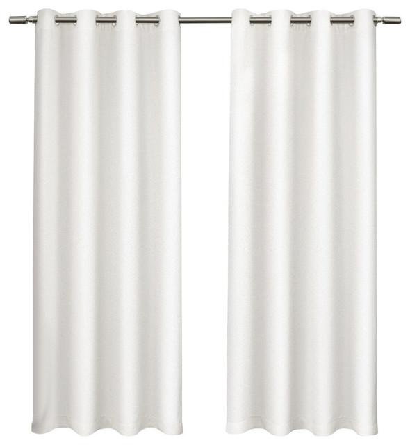 Tweed Textured Linen Blackout Grommet Curtain Panel Pair