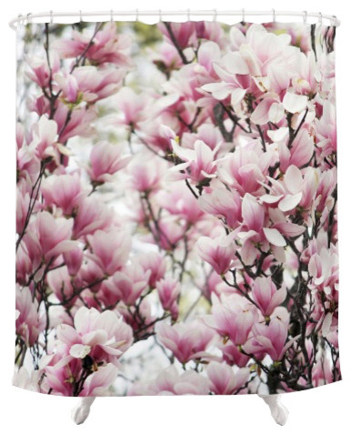 Magnolias Fabric Shower Curtain Contemporary Shower Curtains