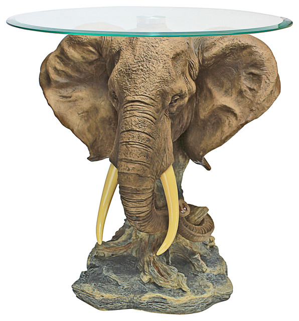 Wonderful Lord Earl Houghtonu0027s Trophy Elephant Glass Topped Table Eclectic Side Tables  And