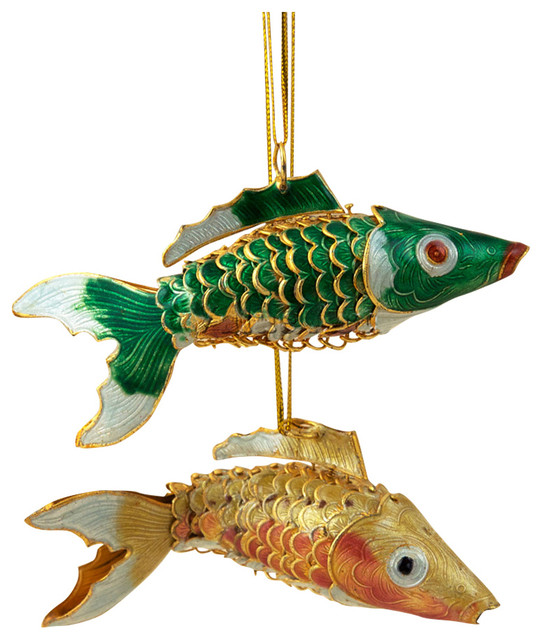 Cloisonne Fish Ornaments, Set of 2 - Traditional ...