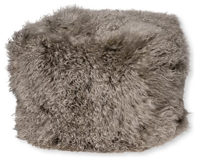 Mongolian Lamb Fur Pouf.