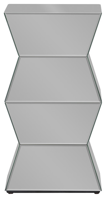 Sakina Contemporary Multi-Faceted Mirrored Side Table.