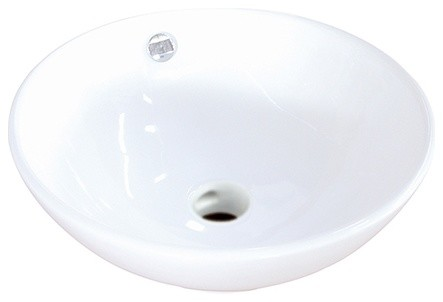 Kingston Brass Perfection White China Vessel Bathroom Sink With Overflow Hole.