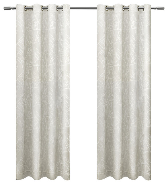 Twig Insulated Woven Blackout Grommet Top Curtain Panel Pair 54x108 Vanilla