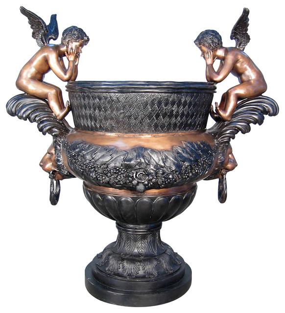Cherubs Decorative Urn Bronze Sculpture