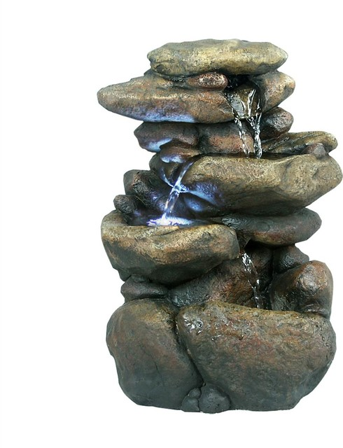 Tiered Rock Tabletop Fountain With Led Lights 11