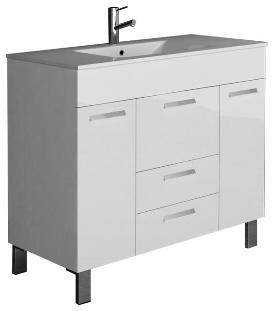 Venus Modern Bathroom Vanity Wall Mount Integrated Sink, White.