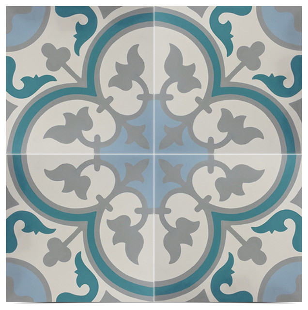 "8""x8"" Casa Handmade Cement Tile In Multicolor, Set Of 12."