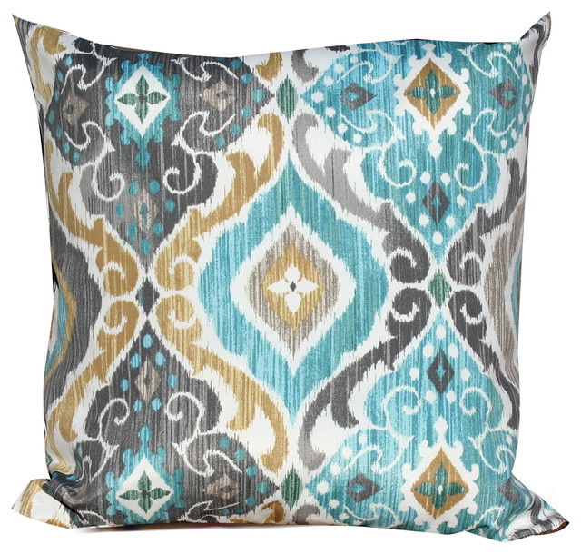 Charming Persian Mist Outdoor Throw Pillows Square, Set Of 2 Modern Outdoor Cushions