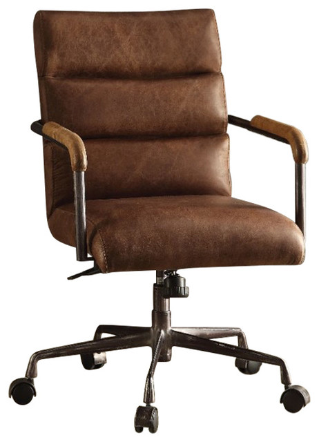 Metal And Leather Executive Office Chair Retro Brown