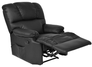 Recliner Heated Massage Chair With Control, Black   Modern   Recliner Chairs    By AffordableVariety